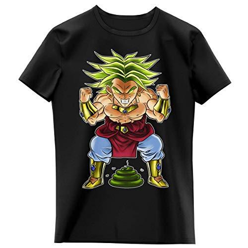 T-shirt Enfant Fille Noir parodie Dragon Ball Z - DBZ - Broly le guerrier millénaire - Super Caca Vol.3 - le Caca Millénaire (T-shirt enfant de qualité premium de taille 8 ans - imprimé en France)