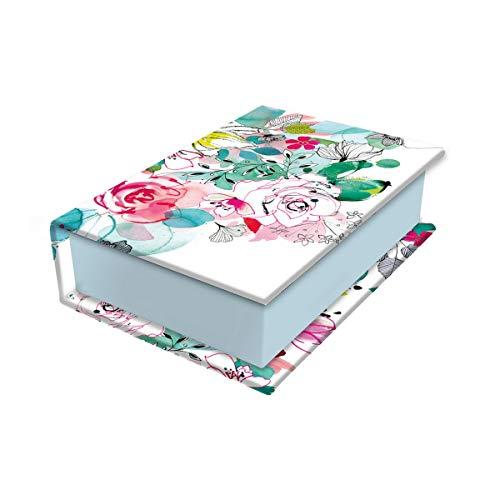 Clairefontaine 115578C - Une Petite Boite de Rangement en Carton Multifonctions Rectangulaire motif Floral - 9,5 x 6,5 x 3 cm - Collection Blooming - 3 visuels, livraison aléatoire