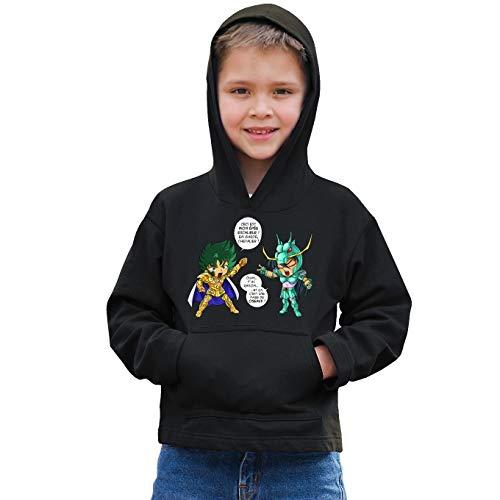 Okiwoki sweatshirt met capuchon voor kinderen, zwart, Saint Seiya, parodisch, Shura, Golden ridder, Steenbok en Shiryu van de draak: J't'AI gebroken. (Parodie Saint Seiya)