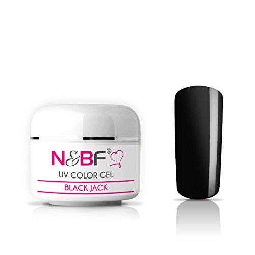 N&BF UV Farbgel 5 ml | Black Jack (Schwarz) | Colourgel deckend mittelviskos | Color Gel für Gelnägel | Made in EU | Farbgele für Nageldesign und Nailart | selbstglättend + ohne Säure