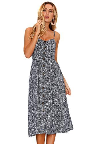 OMZIN Damen Kleid Strandkleid Sommerkleid Schulterfrei Blumenkleid A-Linie Ärmellos Abendkleid Navy Blau S