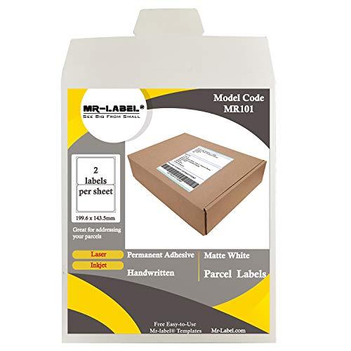 MR-Label Rechthoek Etiketten voor A4-vel - Pakket Etiketten | File Labels | Adres Etiketten - voor inkjet- en laserprinters - Zelfklevend schrijfpapier 199.6 x 143.5 mm 50 Sheets - Totally 100 Labels
