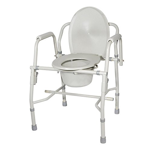 Drive Medical Deluxe Steel Drop-Arm Commode, Tool Free Knock Down Frame -  11125KD-2