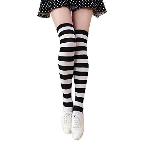 CHIC DIARY Bunte Streifen Kniestrümpfe Damen College Cheerleader Karneval Kostüm Strümpfe Overknee Socken für Sport Fußball
