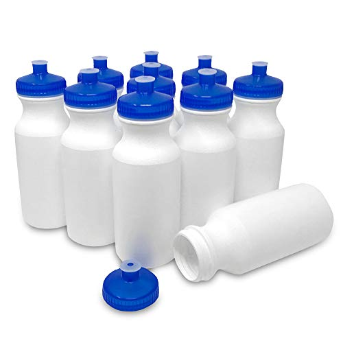 CSBD 20oz Sports Water Bottles, 10 Pack, Reusable No BPA Plastic, Pull Top Leakproof Drink Spout, Blank DIY Customization for Business Branding, Fundraises, or Fitness White Bottle Trans Blue Lids