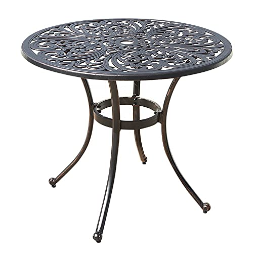 Cast Aluminium Metal Round Garden Table - Rust-Free Weather Resistant Outdoor Bistro Dining Furniture with Floral Design - Sturdy & Lightweight - Perfect for Patios, Lawns, Terraces and Balconies