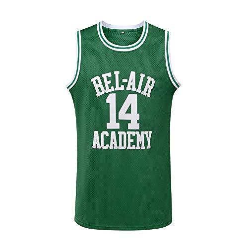 #14 The Fresh Prince of Bel Air Academy Men Basketball Jersey, Green XXL