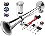 Carfka Train Horn Kit for Truck Car with Air Compressor, Super Loud 12V Electric Trains Horns for Vehicles, Single Trumpet Air Horn Complete Kits for Easy to Install, Jeep SUV Lorrys Boats
