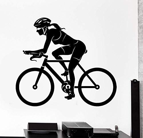 Fiets Vrouw Vrouwelijke Fietser Sport Muursticker Muurstickers voor Meisjes Kamer Interieur Art Decor Dorm Studio Club Art Mural 55x65cm