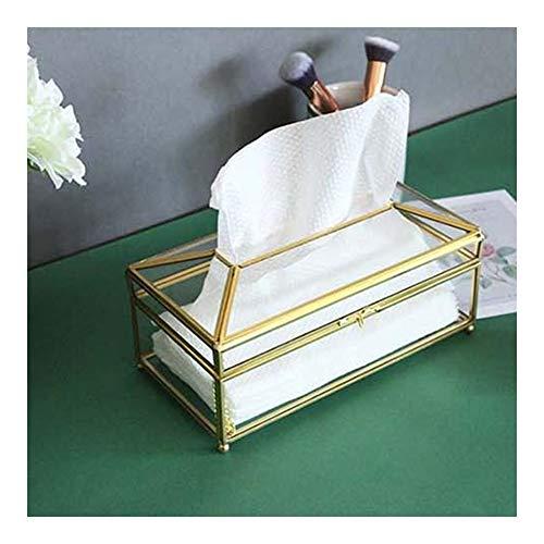 YUHUII Zakdoekdoos Creative Glass tissuedoos eenvoudig woonkamer huishouden gouden orde- glas/spiegel papieren houder licht servet dienblad