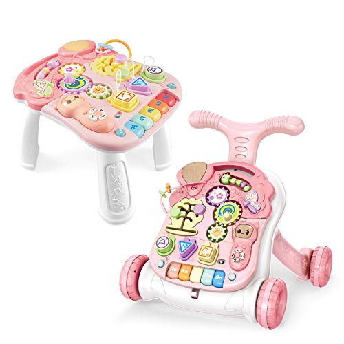 Baby Learning Walker Sit-to-Stand Baby Walker with Wheels Entertainment Table Kids Early Educational Activity Center, Baby Push Walkers for Boys and Girls, Pink