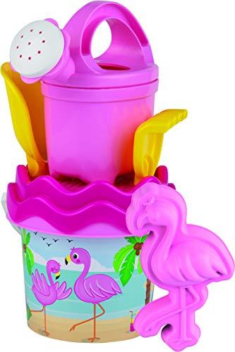 Simba 107114405 - Flamingo Baby-Eimergarnitur, 6 Teile, Eimer, Sieb, Sandform, Schaufel, Rechen, Gießkanne, Höhe 11cm, Durchmesser 14cm, Sandkasten, Sandspielzeug