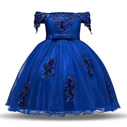 IBTOM CASTLE Flower Girls Off Shoulder Appliqued Tutu Princess Pageant Dress Bow Belt Bridesmaid Wedding Communion Wedding Birthday Party Formal Prom Gown Royal Blue 4-5 Years
