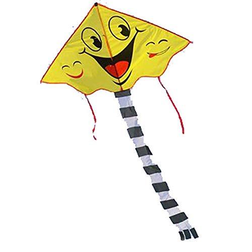 NEHARO 3d Pattern Kite Long Tail Kite Grid Cloth Outdoor Kite Fiberglass Rod Strong Kite Cartoon Smiling Face Kite Outdoor Toys (Color : Yellow, Size : One size)