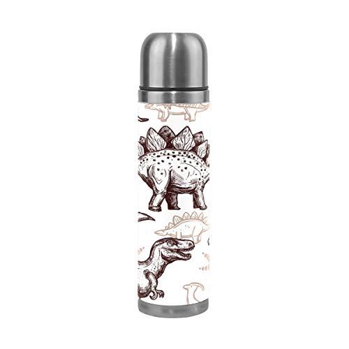 FANTAZIO Vacuum Flask Thermos Tekenen Dinosaurussen Voetafdrukken Patroon Thermos Fles voor Hot Vloeistoffen