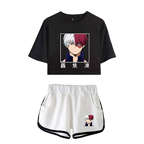 WWZY My Hero Academia 3D Anime Impreso Conjunto Camisa Y Pantalones Cortos Traje De Cosplay Todoroki Shoto De Dos Piezas T-Shirts Manga Corta Top Shorts Casuales Uniform,S