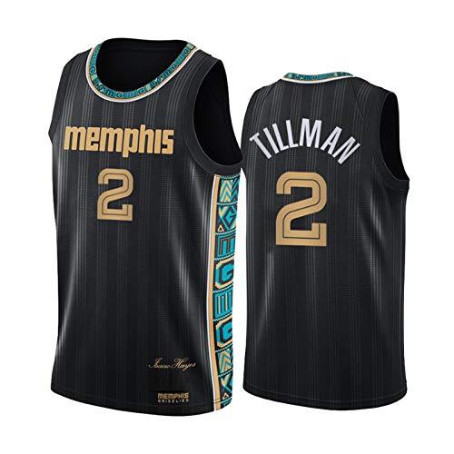 LXLX Tillman City Edition Basketball Jerseys, 2# Grizzliesmen's Youth Sportswear y Competencia Chaleco Transpirable Baloncesto Uniformes Camiseta Negro, (S-XXL) Vest-XL