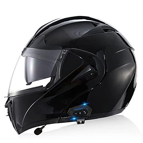 YALIXING Casco de motocicleta con Bluetooth, con doble visera para adultos, hombres, mujeres, para Cruiser ATV, Street Moto Scooter Off-Road (color: A, tamaño: XL 61-62 cm)