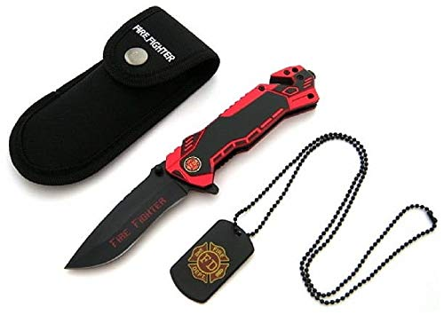 KOSxBO® Firefighter Rescue Knife EMS Rettungsmesser mit Glasbrecher, Gurtschneider, Messertasche und Dog Tag, Feuerwehr Messer schwarz rot