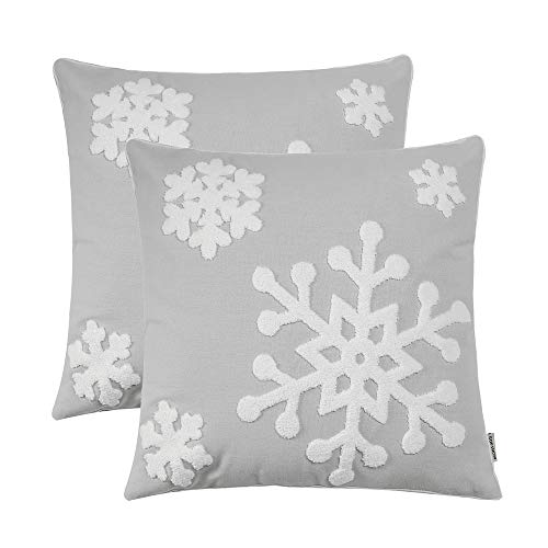 Softnow - 2 fundas de almohada de Navidad de algodón suave, cojines decorativos sólidos cuadrados, fundas de almohada para sofá,...