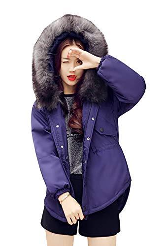 Adelina winterjas dames sale korte elegante vrije tijd lange mouwen warm gewatteerde jas met bontcapuchon meisjes effen kleuren comfortabel asymetrisch parker overgang mantel