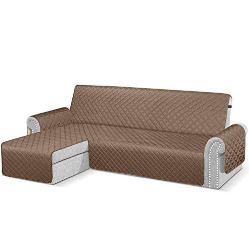 TAOCOCO Sofabezug mit Halbinsel, wasserdicht, Armlehne, links, Sofa-Schutz, braun, 3-Sitzer + 3-Sitzer (Vorderseite)