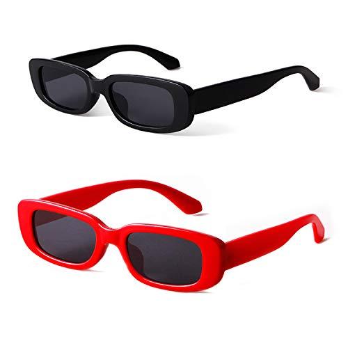 ADEWU Gafas de sol retro Gafas rectangulares Moda Gafas pequeñas para mujeres Hombres
