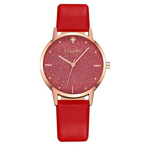 Powzz, orologio da donna alla moda, con brillantini, con cintura, orologio al quarzo Cinghia Rosso
