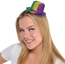 Amscan Mini Glitter Top Hat Mardi Gras Costume Headwear Party Supplies (1 Piece), Multicolor