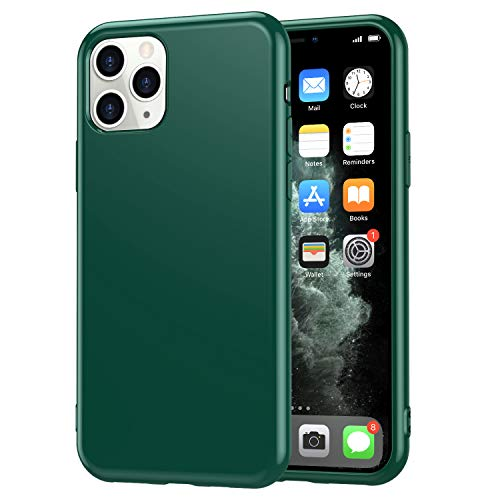 YYXIANG Compatible iPhone 11 Pro Max Slim Fit Glossy Skin [2.0mm] Thick Soft Silicone Thin Flexible TPU Cover Case for Girls Women Compatible iPhone 11 Pro Max 6.5 inch (Dark Green)