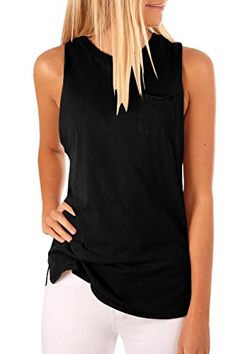Women's High Neck Tank Top Sleeveless Blouse Plain T Shirts Pocket Cami Summer Tops Black
