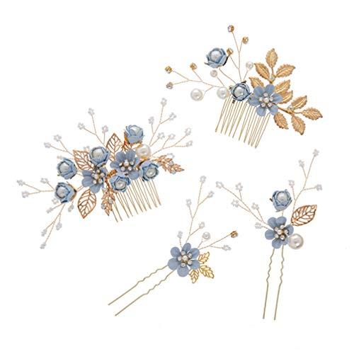 STOBOK 4 Stück Gold Hochzeit Haarkamm Perle Blume Braut Haarschmuck Strass Brautschmuck Kamm Haarspange für die Braut Brautjungfer - Blaue Blume
