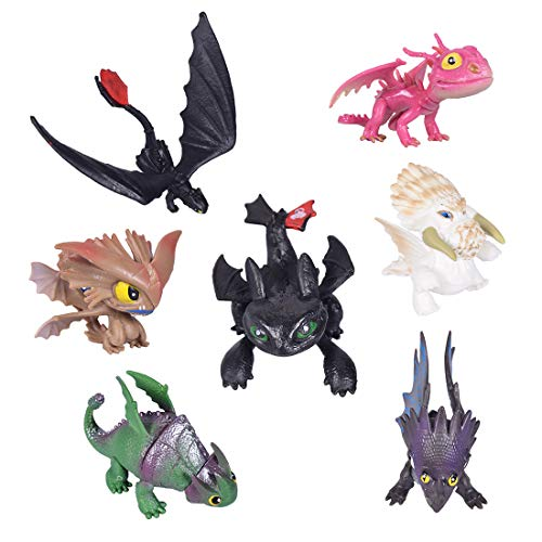 Max Fun 7 Pcs HTTYD Dragon Action Figures Night Fury Toothless Kids Toys Cake Toppers