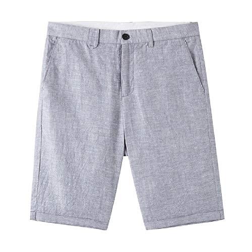 OKJI Heren Zomer Casual Korte Broek Katoen Lijn Mode Vintage Zakelijke Shorts Effen Kleur Ademend Plus Size