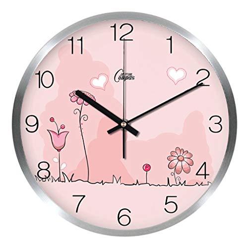 WXL Reloj de pared de metal de doble cara para sala de estar, creativo, estilo europeo, reloj de pared nórdico de madera maciza, reloj de pared americano (color: C)
