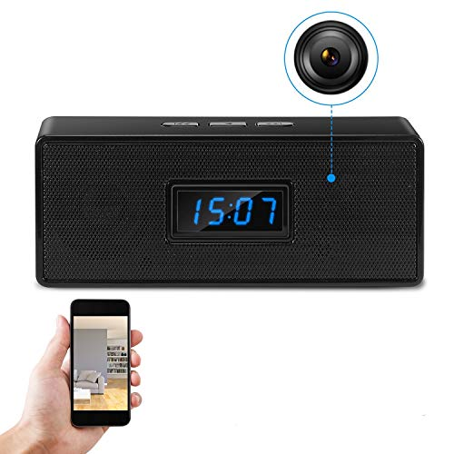 GooSpy Hidden Camera Bluetooth Music Speaker - Wireless Spy Camera Clock - HD 1080P Wi-Fi Nanny Cam - Night Vision - Remote View via iPhone/Android Phone APP - Motion Detection Record & Alarm