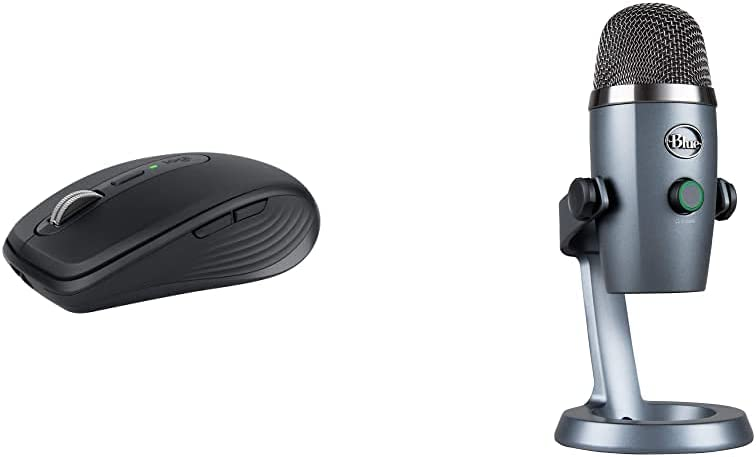 Blue Yeti Nano Professional Condenser USB Microphone - Shadow Grey &Logitech MX Anywhere 3 Compact Performance Mouse - Graphite