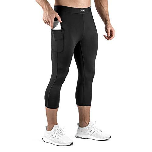 Sixlab 3/4 Leggings Herren mit Smartphone Tasche Fitness Gym Shorts (Schwarz, L)
