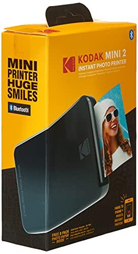 Kodak Mini 2 HD Wireless Mobile Instant Fotodrucker w / 4 Pass patentierte Drucktechnologie (Schwarz) - Kompatibel mit iOS & Android-Geräte - Echte Tinte in Einem Instant