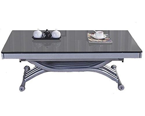 Table Basse relevable à allonges Zen - Verre Gris