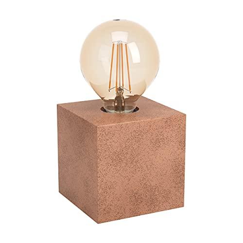 EGLO Lámpara de mesa Prestwick 1, 1 lámpara de mesa industrial, lámpara de noche de metal, lámpara de salón en marrón oxidado con interruptor, casquillo E27