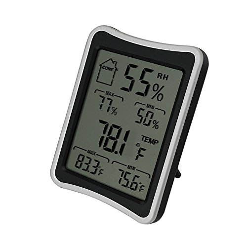 Hotloop Digital Thermometer and Humidity Monitor for Indoor Measurements with Comfort Level Icon and Large LCD Screen