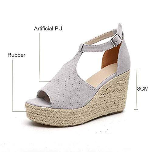 Dames sandalen Summer Hielen Espadrilles Plateform Lederen kant open teenpartij zacht enkelgesp 8 cm hiel platte schoenen vakantie grijs 2019