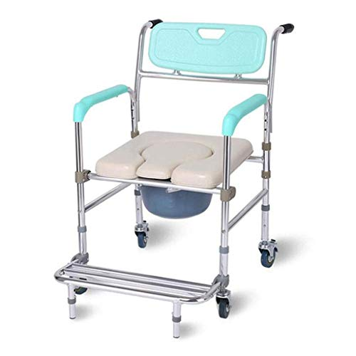 N/Z Daily Equipment Bathroom Stool Shower Chair Bathing Chair for The Elderly with a Wheel Chair/Folding Aluminum Alloy Pregnant Women Toilet Seat Chair Stool Mobile Toilet