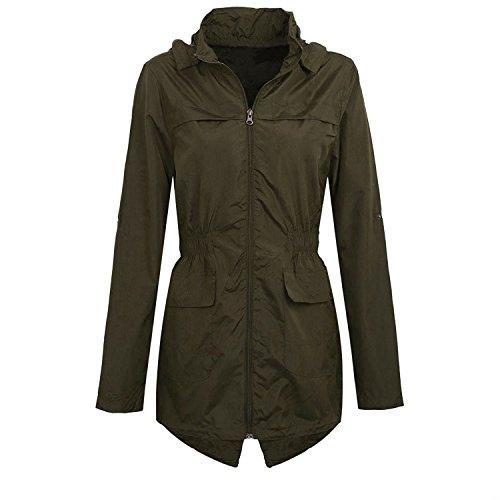 shelikes nieuwe Womens Hooded Mac licht douchebestendige regenjas (20, Khaki)