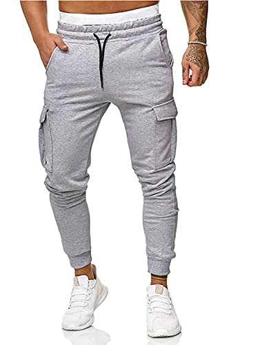 Dokotoo Mens Ahtletic Active Workout Track Cargo Joggers Workout Jogging Pants Drawstring Elastic Waist Tracksuit Skinny Slim Fit Sweatpants Flap Pocket Trousers Long Pants with Pockets Grey Large
