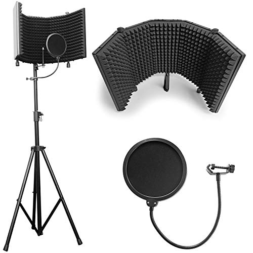 """AxcessAbles SF-101KIT Recording Studio Microphone 32.5""""Wx13""""H (422sq inch) Half Dome Isolation Shield with Tripod Stand 4ft to 6ft 6"""" Height Compatible w/Blue Yeti, AT2020, Condenser Mics"""