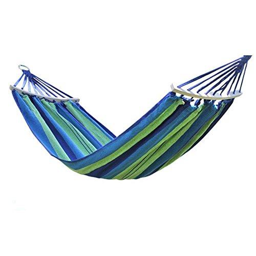 XHHWZB Tela Doble de algodón de la Persona Hamacas de Viaje de Lona Hamaca de Camping Ultraligero Cama de oscilación de Playa portátil con Barra de Madera Esparcidor Árbol Colgante Colgante