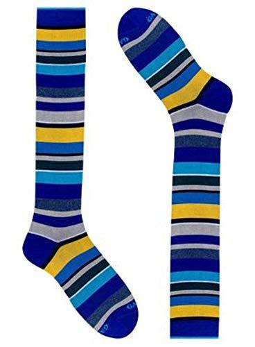 Gallo calza lunga uomo in cotone multirighe blu azzurro e giallo taglia unica 40-45