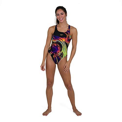 Speedo Placement Digital Powerback Swimsuit, Mujer, Black/Fluo Yellow/Green Glow/Violet, 36 (UK 14)